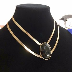 Gold-Tone Stone Double Strand Statement Necklace